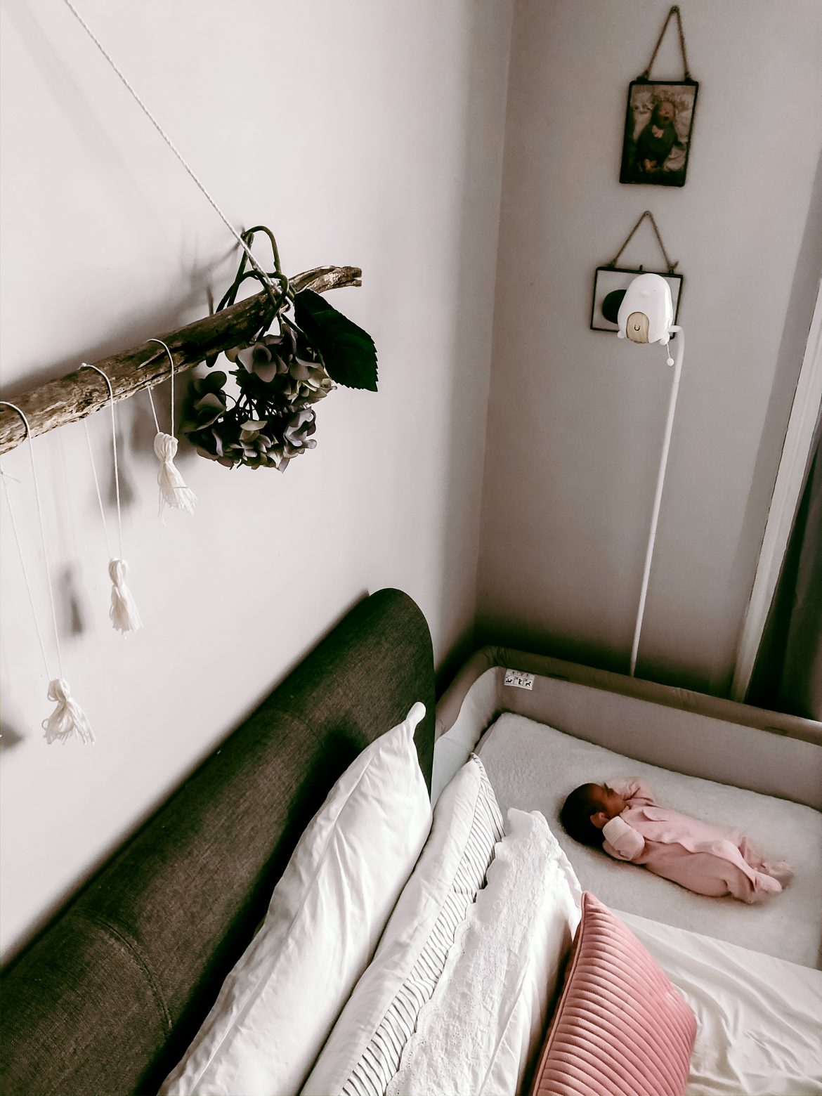 Baby lying in a crib